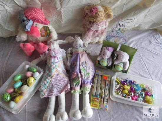 Lot of Easter Stuffed animals, Easter eggs, etc.