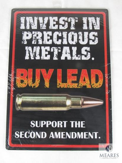 New Second Amendment Support Tin Sign Invest in Precious Metals BUY LEAD