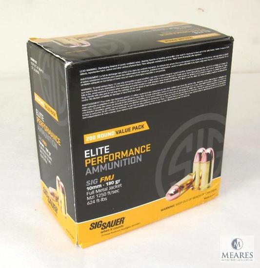 Box 200 Rounds Sig Sauer 10mm 180 Grain FMJ Ammunition