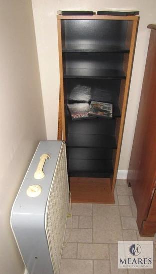 Wood bookcase / DVD Shelf and 24 in fan