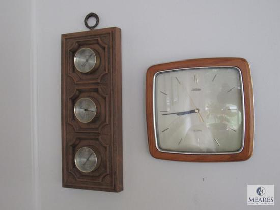 Contents of sunroom walls includes clock, weather gauge, and pictures