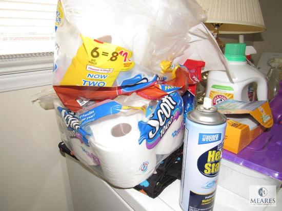 Content supplies of laundry room cleaning supplies and table lamp