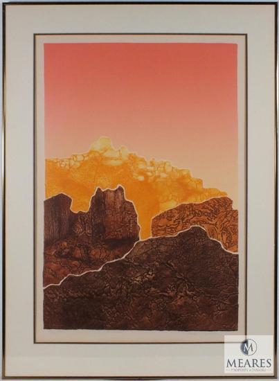 """Martha Slaymaker Eldorado fine art Etching western landscape Signed & Framed 36"""" x 26"""""""