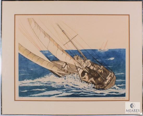 "Lupe Chown The Winner III Miriam Sailboat Print Signed Framed 32""x 26"""