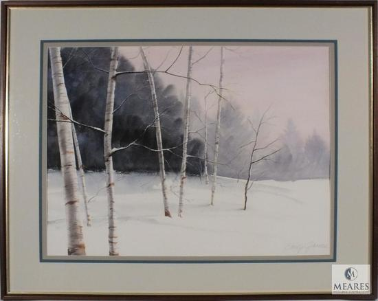 "Emily James Winter Birch Trees Signed Original Framed 38"" x 31"""