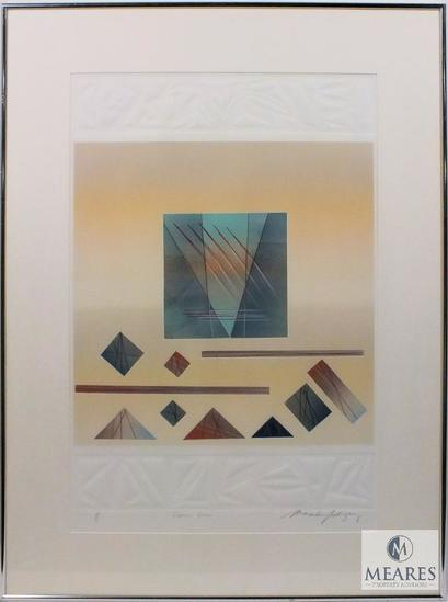 "M. Rodriguez Planar Scene 1 of 1 Abstract Art Signed and Framed 35"" x 26"""