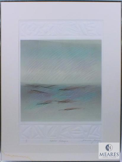 "M. Rodriguez Impressions Landscape Abstract Art Signed and Framed 35"" x 26"