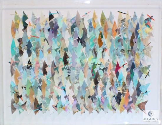 "Avangard Paper Triangle Abstract Art in Acrylic Clear Display 49"" x 37"""