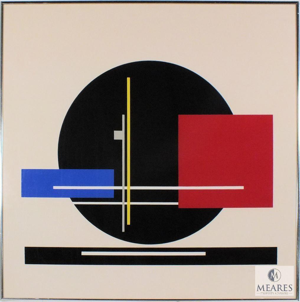 "Jean Gorin Signed Lithograph Geometric Framed Art 27"" x 27"""