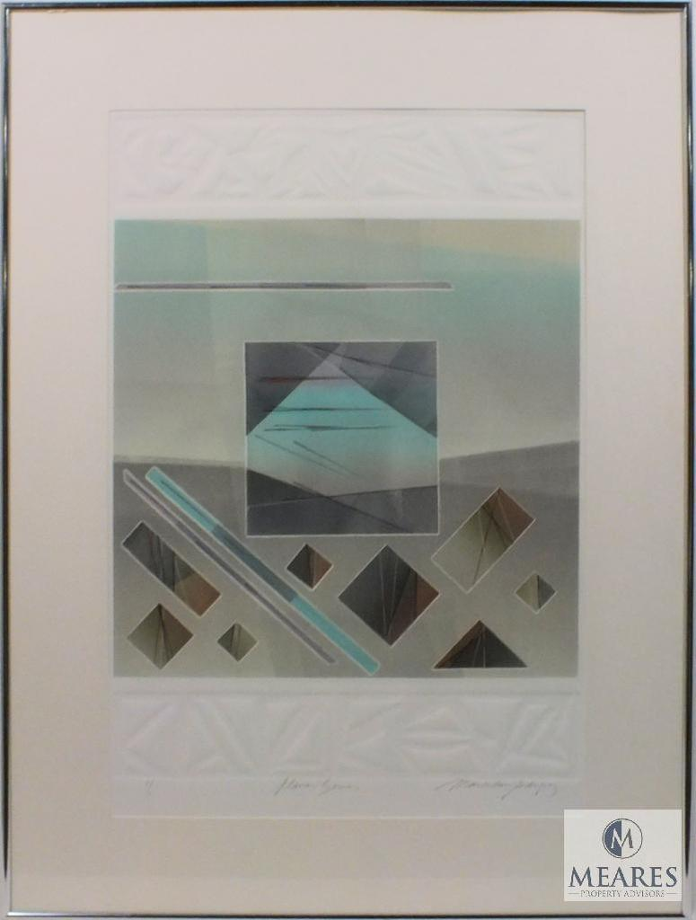 """M. Rodriguez Planar Scene 1 of 1 Abstract Art Signed and Framed 35"""" x 26"""
