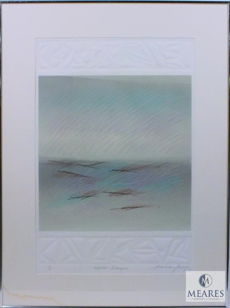"""M. Rodriguez Impressions Landscape Abstract Art Signed and Framed 35"""" x 26"""
