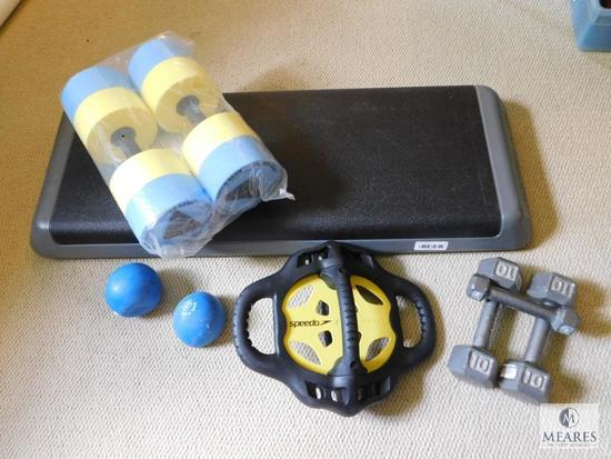 Lot of Water Exercise Equipment - Weights - Push Plate