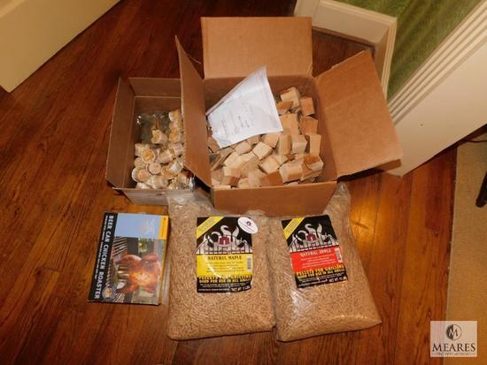 Lot of Smoker Wood Chips, Pellets, Fire Starters & Chicken Roaster