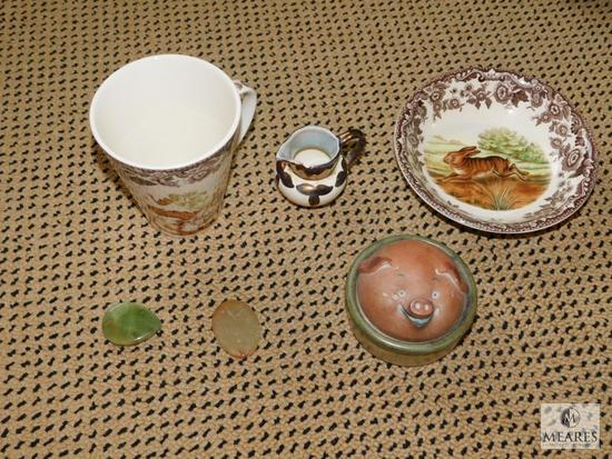Lot of Spode China Pieces, Pig Face Pottery and Trinket Holder
