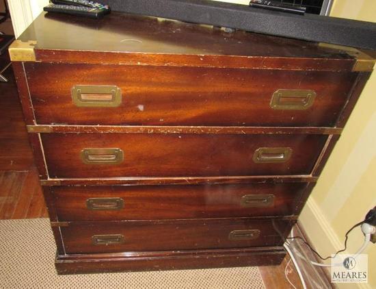 Vintage Four-Drawer Dresser with Brass Pulls