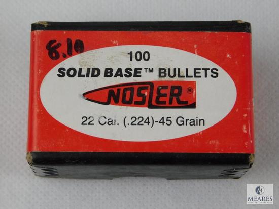 Nosler 22 Caliber, 45 Grain Boat tail Bullets, Approximately 100 Count