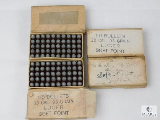30 Caliber Luger, 93 Grain Bullets VINTAGE, Approximately 4 Boxes of 50 Each