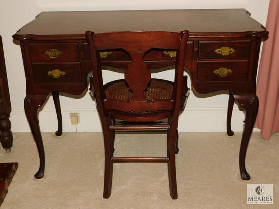 Antique wood writing desk & Chippendale cane bottom chair