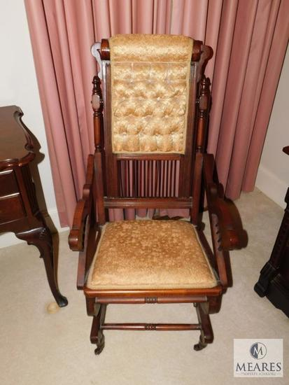 Antique wood Rocking Chair Spring Action Tufted Upholstery