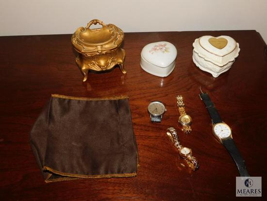 Lot Trinket Jewelry Boxes and 3 Wrist watches 2 are Timex