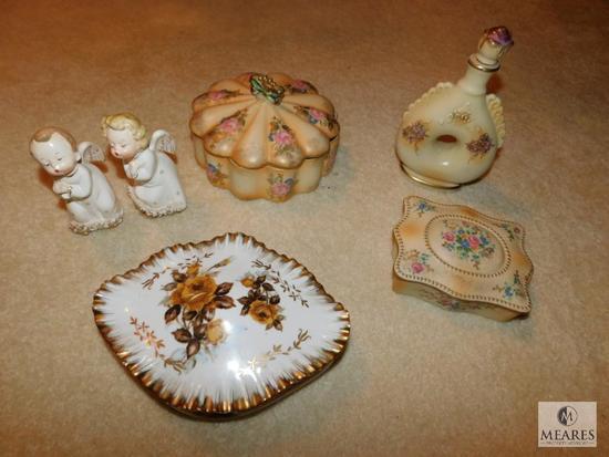 Lot Vintage China Porcelain Trinket boxes Angel figurines