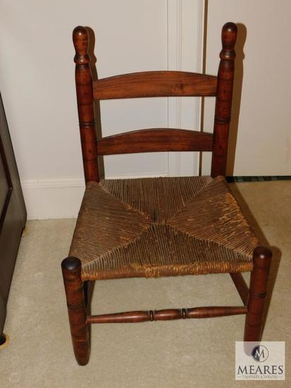 Vintage Wood Children's Chair with Rattan bottom