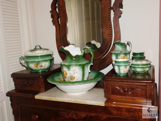 Semi-vitreous Porcelain 7 piece Wash bin and pitcher set