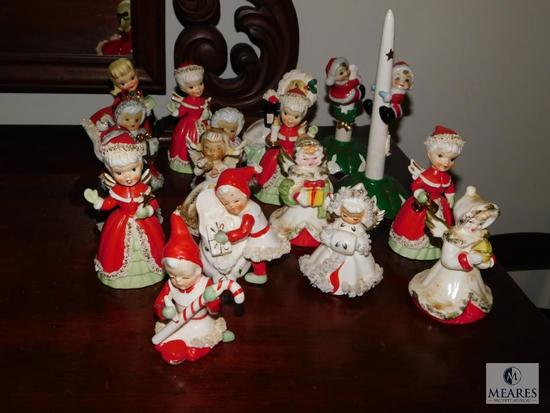 Lot 17 Christmas Angel bells and candle holders Porcelain circa 1950's