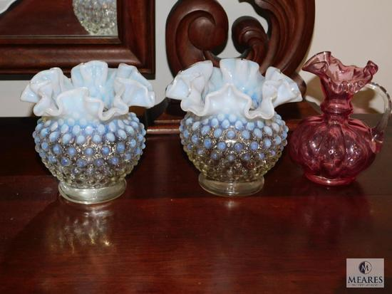 Lot 3 possibly Fenton Hobnail Opaque Vases and 1 Cranberry pitcher
