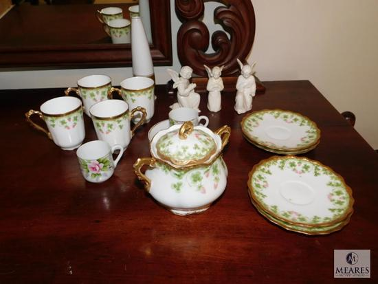Lot Limoges France Coronet China pieces and Small Angel figurines