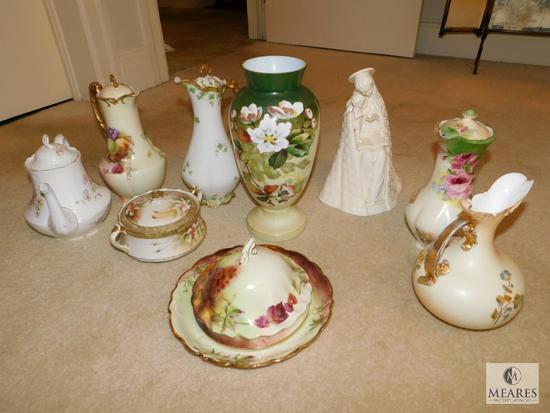 9 piece lot Vintage Porcelain / Ceramic Tea Kettles, Vase, Bowl, Butter Dish
