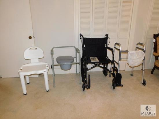 Lot medical / handicap supplies wheelchair, walker, shower seat, bedside potty