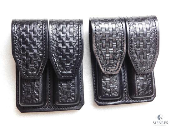 2 new leather double mag pouches for Colt 1911 and other single stack magazines