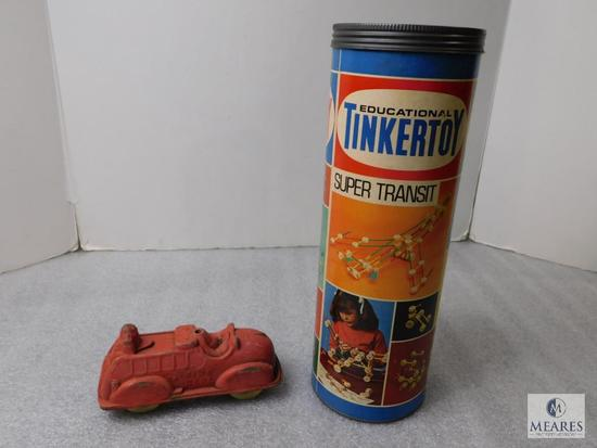 Lot Vintage Toys; Tinkertoy & Old Fire Truck Vehicle