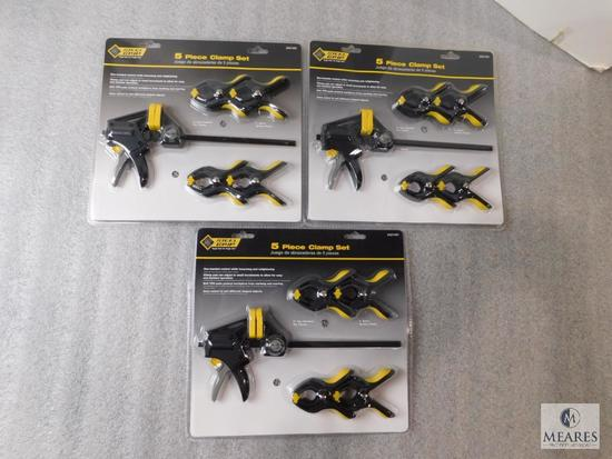Lot 3 New Sets of Clamps 5 piece set each