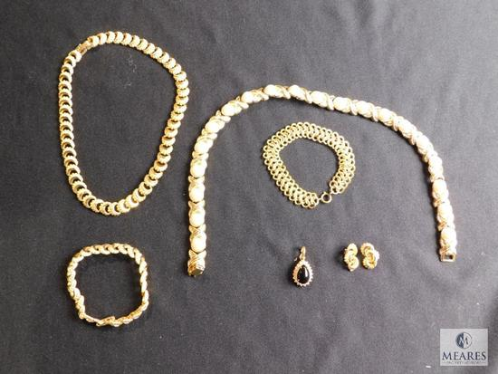 Assorted vintage gold-tone costume jewelry