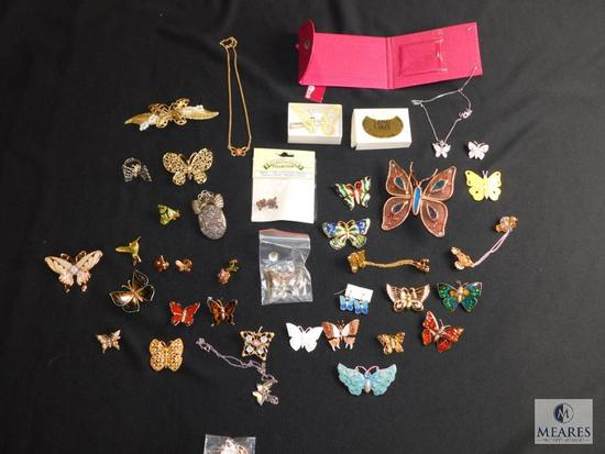 Lot of assorted butterfly themed costume jewelry