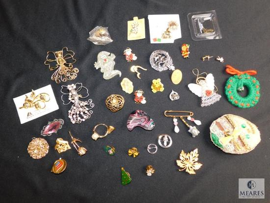 Assorted lot of costume pins , some vintage