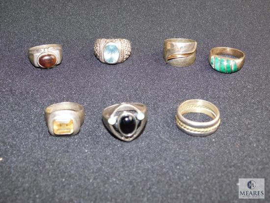 Lot of 7 Vintage rings (Most are sterling)