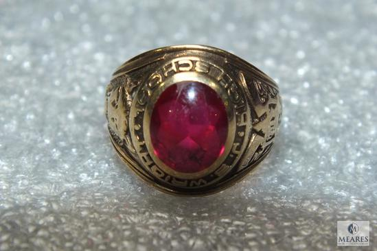 10K Gold J.S. Wright High School Ring 1957 Red Stone