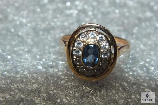 14K Gold Women Diamond & Blue Stone Ring