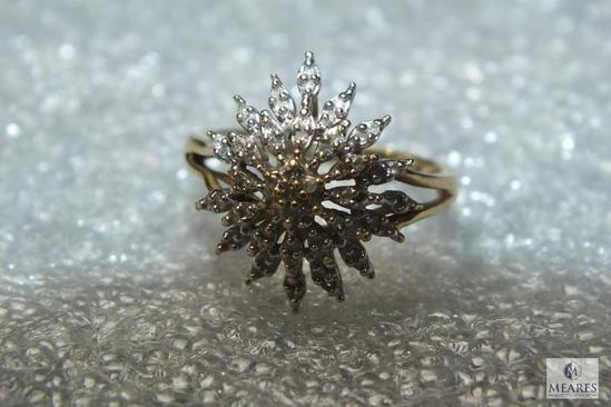 10K Gold Women's Diamond Starburst Ring