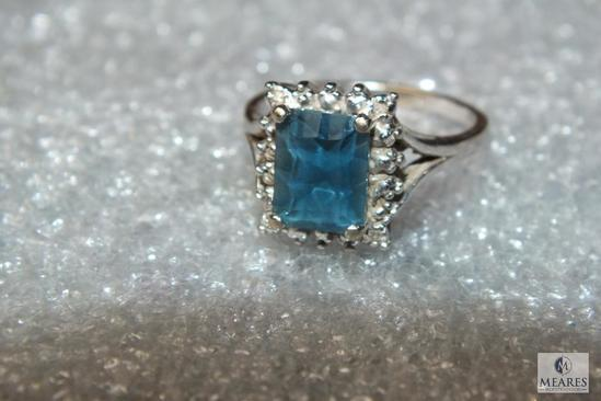 10K White Gold Ladies Ring with Blue & Diamond like Stones