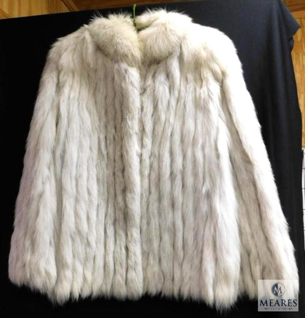 Saga Ladies White Fox Fur Coat Jacket Size Medium