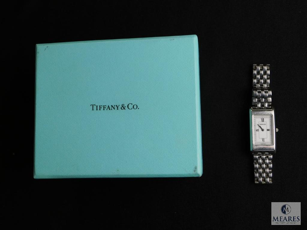 Tiffany & Co. ladies stainless steel rectangular watch with roman numerals