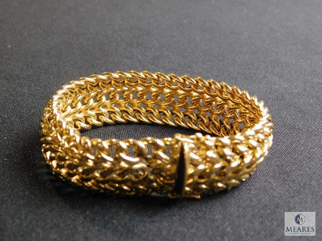 18k marked 750 yellow gold hollow design link bracelet with double clasp