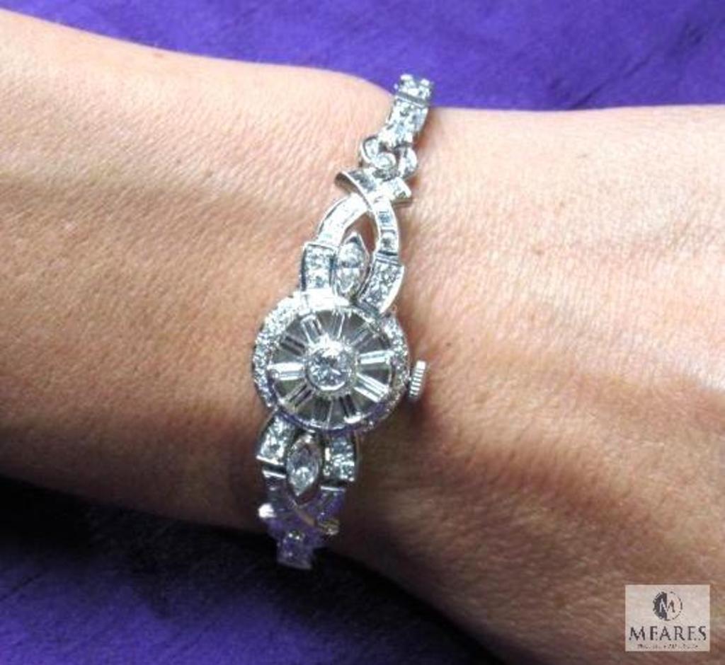 Hamilton Ladies Wrist Watch 7 carat Diamonds 14K WG & Platinum