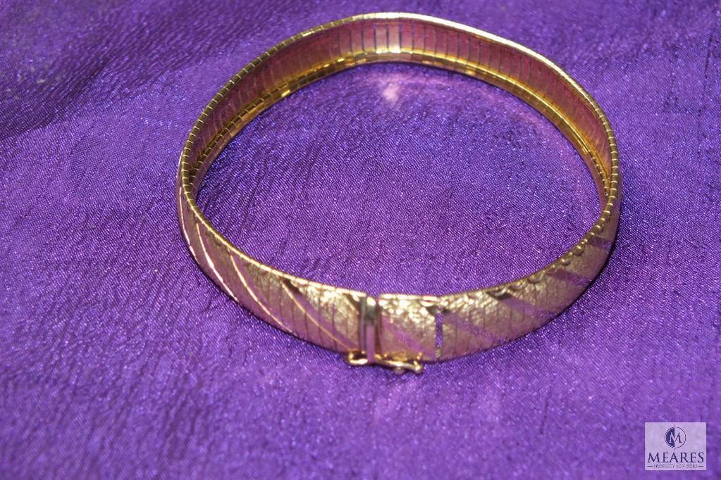 "Ladies 10K Gold flexible Bangle Bracelet 8"""