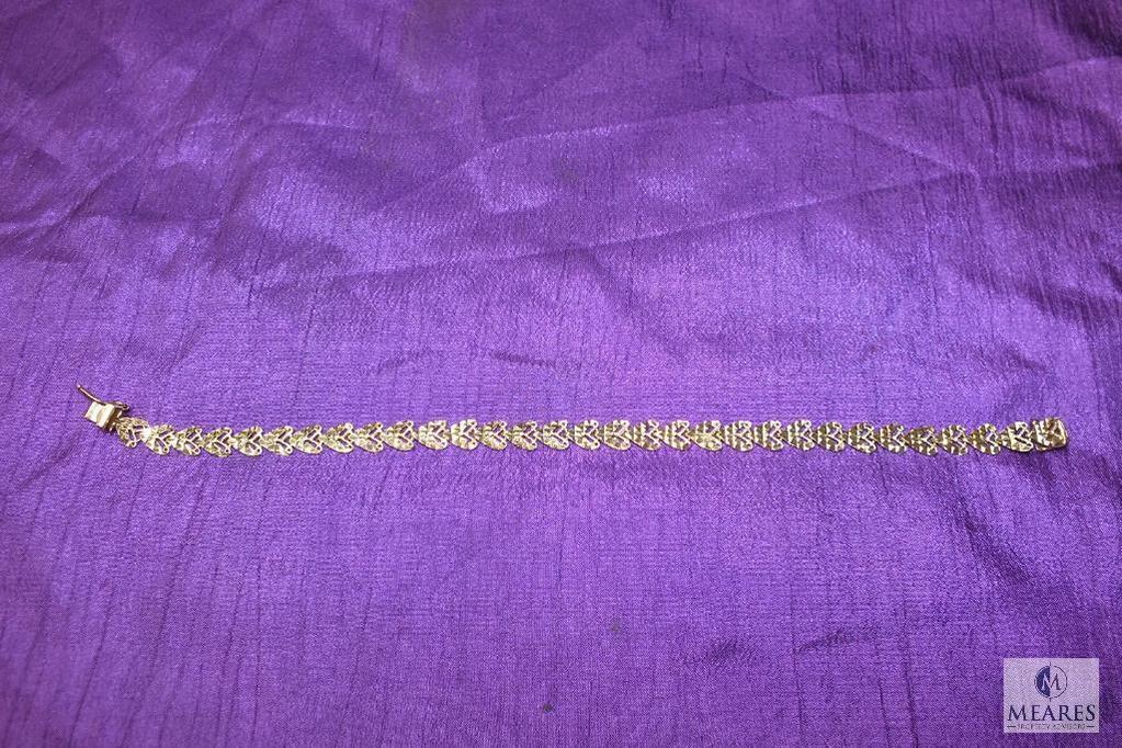 "10K Yellow Gold Heart Shaped Link Bracelet 8.25"""