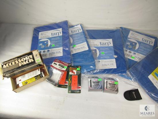 Lot New Poly Tarps, Thompson Center Muzzleloader Pack, Muzzle Mount, Arrow Sharpener, +